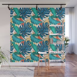 Colorful Tropical Jungle Leaves Wall Mural