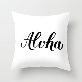 Aloha calligraphy lettering Throw Pillow