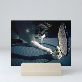 Cat playing badminton Mini Art Print