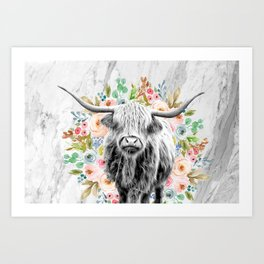 Highland Cow With Flowers on Marble Black and White Art Print