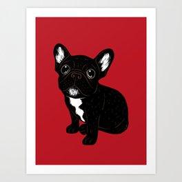 Cute Brindle Frenchie Puppy Art Print