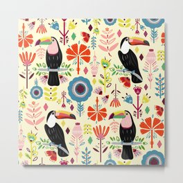 Colorful Toucans - cream Metal Print