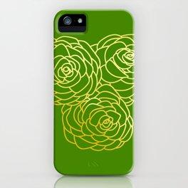 Gold Roses - Green BG iPhone Case