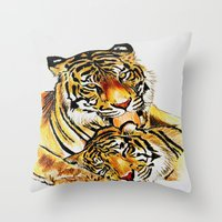 tigers Throw Pillows featuring Tigers by DrewzDesignz