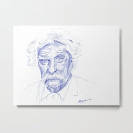Mark Twain Portrait in Blue Bic Ink Metal Print