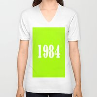 1984 V-neck T-shirts featuring 1984 by Wanker & Wanker