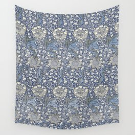 William Morris Navy Blue Botanical Pattern 7 Wall Tapestry