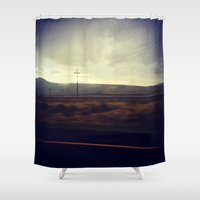 the wire Shower Curtains featuring The Wire by Kai Monster