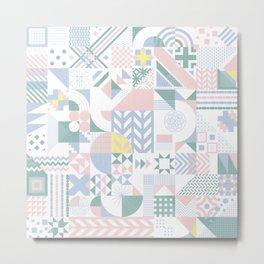 Retro Contemporary Geometrical Pattern Metal Print