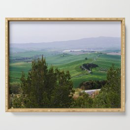 Beautiful spring evening froggy landscape in Tuscany countryside, Italy Serving Tray