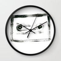 tape Wall Clocks featuring TAPE by Michela Buttignol