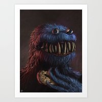 cookie monster Art Prints featuring Cookie Monster by Adrián Retana