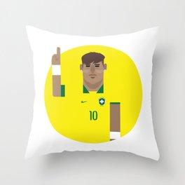 Neymar Brazil Illustration Print Throw Pillow
