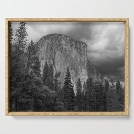 Yosemite National Park, El Capitan, Black and White Photography, Outdoors, Landscape, National Parks Serving Tray