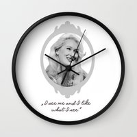 ashton irwin Wall Clocks featuring Madeline Ashton- Death Becomes Her/ Meryl Streep by BeeJL