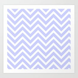 Periwinkle Blue Chevron Stripes Art Print