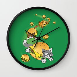 Cat Cheeseburger Train Wall Clock