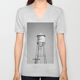 Marfa Water Tower B&W Unisex V-Neck