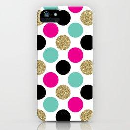 Pink, Aqua, Gold, and Black Mega Dots Pattern iPhone Case