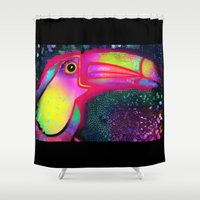 sam smith Shower Curtains featuring Toucan Sam  by Don't Blink Art