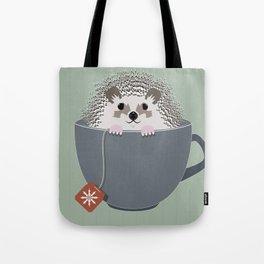 Holiday Tea Cup Hedgehog Tote Bag