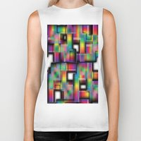 plaid Biker Tanks featuring Puzzled Plaid by Robin Curtiss