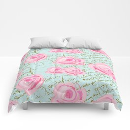 Pink  Roes and French Script Comforters