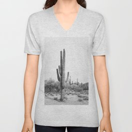 Desert Cactus BW Unisex V-Neck