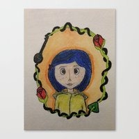 coraline Canvas Prints featuring Coraline by Brittsa Me