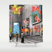 gray Shower Curtains featuring Natural History Museum by Eugenia Loli