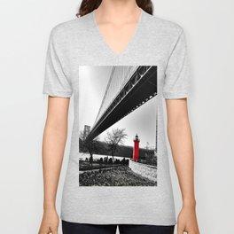The Little Red Lighthouse - George Washington Bridge NYC Unisex V-Neck