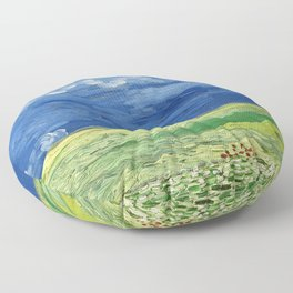 Wheatfield under thunderclouds by Vincent van Gogh Floor Pillow