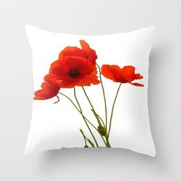 Delicate Red Poppies Vector Throw Pillow