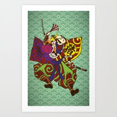 Samurai with vintage japan painting style Art Print