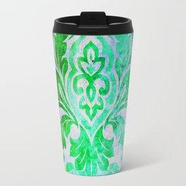 Green Damask Pattern Travel Mug