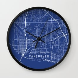 Vancouver Map, USA - Blue Wall Clock