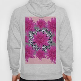 GREY ART DECO FUCHSIA CHRYSANTHEMUM FLORAL Hoody
