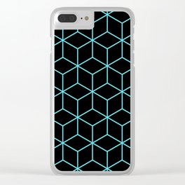 3-D Cube Pattern (Aqua on Black) Clear iPhone Case