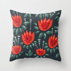 Abstract Red Tulip Floral Pattern Throw Pillow
