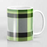 green pattern Mugs featuring Pattern Green by Fine2art