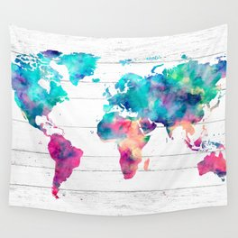 World Map Watercolor Paint on White Wood Wall Tapestry