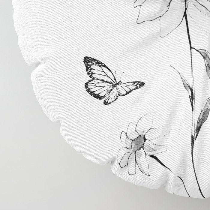 Flowers and butterflies 2 Floor Pillow