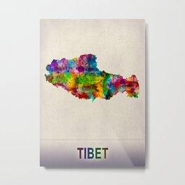 Tibet Map in Watercolor Metal Print