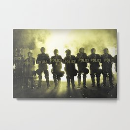 Riot Police Line - Yellow Cast Metal Print