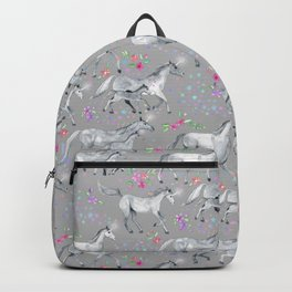 Unicorns and Stars on Soft Grey Backpack
