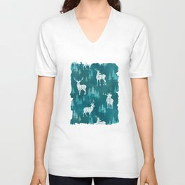 Ice Forest Deer Turquoise Unisex V-Neck