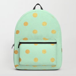 Gold polka dots on mint background - Luxury pattern Backpack