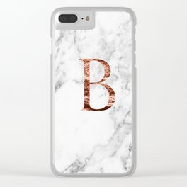 Monogram rose gold marble B Clear iPhone Case