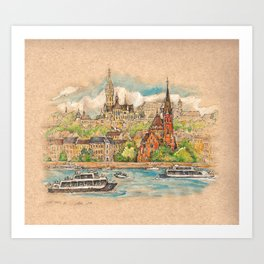 Castle and churches on riverside with boats Art Print