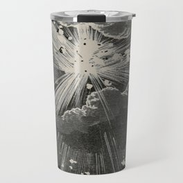 From the Earth to the Moon Black & White Space Explosion Ink Art 1874 Travel Mug